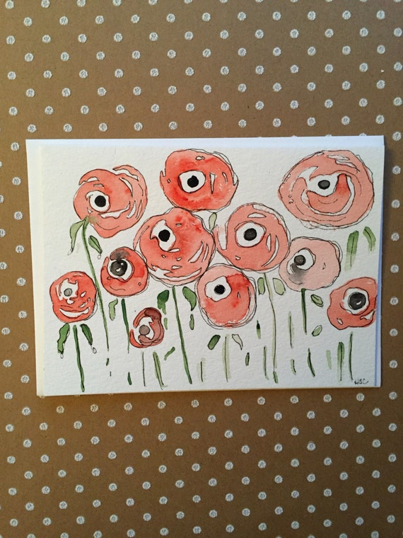 Watercolor Flower Card, Hand Painted Greeting Cards,  Homemade Cards