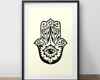 Screen Print Art Hamsa Screenprint Poster Hand of Fatima Screen Print Poster