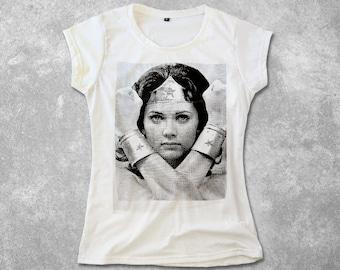Wonder Woman Shirt for Women Old TV Screen Effect  Screen print | Light, Soft & Comfy Cotton Blend Shirt for her