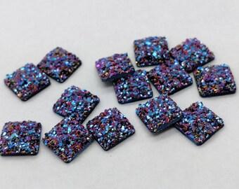 Purple rainbow 10x10mm flat faux druzy square Cabochons 10pcs