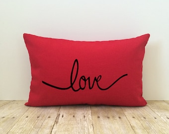 Love Pillow Cover, Red, Bride, Wedding, Anniversary, Decorative Pillow Cover, Valentine