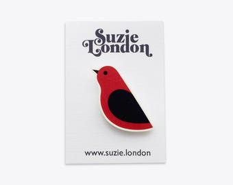 Songbird Brooch in Red – 60s 70s retro Scandinavian bird pin in red by Suzie London