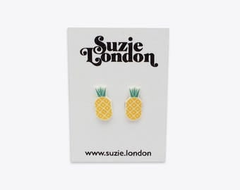 Pineapple Earrings – 70s retro Scandinavian tropical fruit studs in yellow and aqua by Suzie London