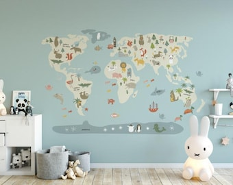 Beige WorldMap Vinyl, kids printables, countries, animals