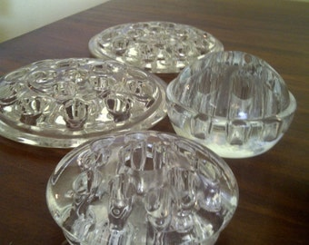 Lot of Vintage Clear Glass/Crystal Flower Frogs