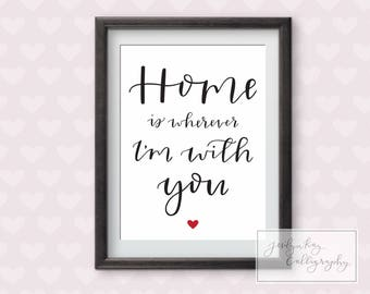 Printable Calligraphy Wall Art- Home is Wherever I'm with You Print Poster- Instant Download sizes 10x12 & 8x10-Wedding Sign, Typography Art