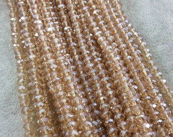 """4mm x 6mm Iridescent AB Finish Faceted Transparent Champagne Chinese Crystal Rondelle Beads - 17"""" Strand (Approx. 94 Beads) - (CC46-84)"""
