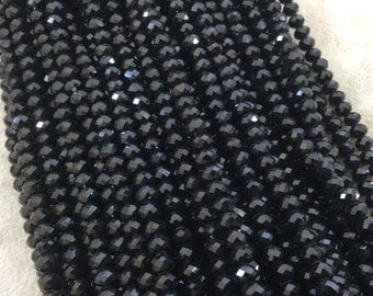 """4mm x 6mm Glossy Finish Faceted Opaque Jet Black Chinese Crystal Rondelle Beads - Sold by 17"""" Strands (Approx. 94 Beads) - (CC46-002)"""