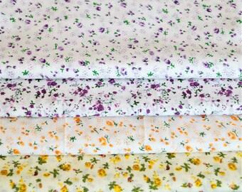 Set of 4 cotton floral fabrics, yellow, orange, purple, 20 * 24 cm
