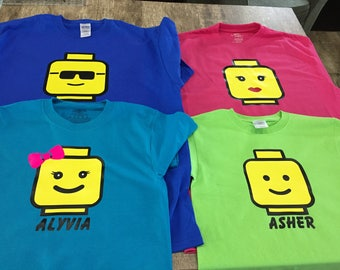 Lego Land Theme Park or Birthday Lego Block Head Family Shirts (Mom, Dad, Kids Lego Shirts)