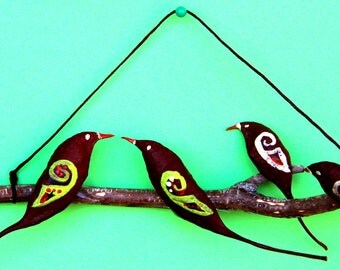 Family Wall hanging talisman. gift for house warming. feng shui wall art. gift for host. wall decor. wall hanging art. birds wall hanging.