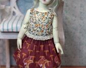 "BJD doll YoSD clothes Littlefee TeenieGem HoneyDelf Volks clothing flora and fauna skirt printed cotton ""Fox on chanterelle"""