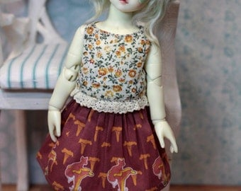 "BJD doll YoSD clothes Littlefee TeenieGem HoneyDelf Volks clothing flora and fauna skirt printed cotton ""Fox on chanterelle"""
