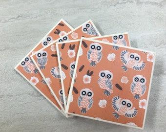 Drinks Coasters, Set of 4 Coasters, Drink Coasters, Owl Coasters, Owl Decor,  Tile Coasters, Ceramic Coasters, Coaster Set, Coasters