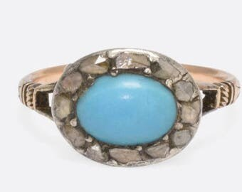 1790s Georgian Turquoise and Rose Cut diamond Ring in 15k Gold