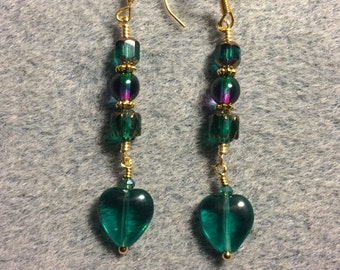 Teal Czech glass heart bead dangle earrings adorned with teal and purple Czech glass beads.