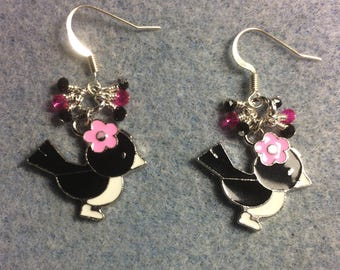 Black, white and pink enamel bird charm earrings adorned with tiny dangling black and hot pink Chinese crystal beads.