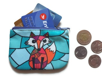 coin purse, change purse, card holder wallet, penny bag with a fox, fox wallet, pouch, fox purse
