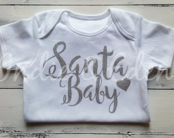 Christmas Santa Baby Girls Silver Glitter Personalised Vest Baby Grow Babygrow Gift Photo Prop