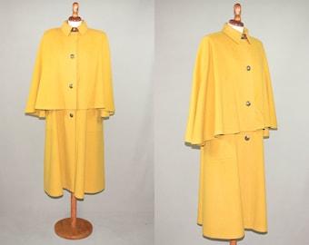 Vintage Hermes 80's cape / yellow wool cashmere Hermès long cape / collection item