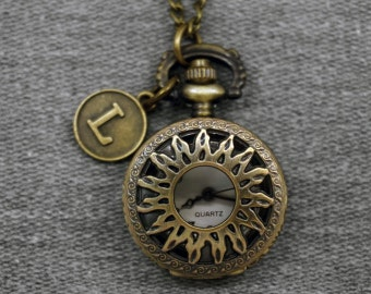 Sun Emblem Pocket Watch Antique Bronze Small Watch Fob Pocket Watch Locket Pendant 27mm, for gifts -P577
