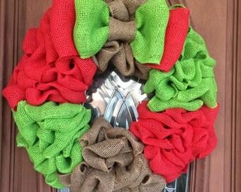 Clearance! Christmas Wreath, Burlap Christmas Wreath, Christmas Burlap Wreath, Front Door Wreath, Red and Green Christmas Wreath