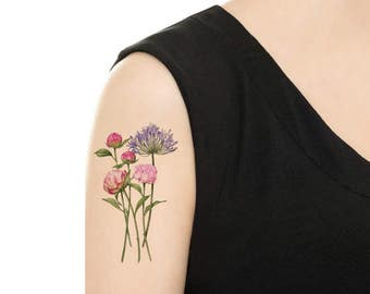 Temporary Tattoo - Peony / Lily / Thunbergia Grandiflora / Pansy / Lilac Vintage Flower Tattoo - Various Patterns and Sizes