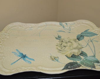 Dresser tray / catch-all / ivory / tin / floral / dragonfly / foliage / green / perfumes / hairbrush / jewelry / bedroom / bureau tray