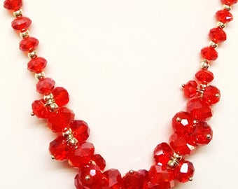 Free Ship* Vintage  23 inch (Adjustable)  70's Red Color Glass Crystal Bead Cluster Choker/Necklace; Retro Costume Jewelry & Accessories