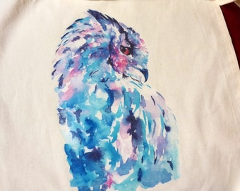 Watercolour Owl Print Cotton Tote Bag