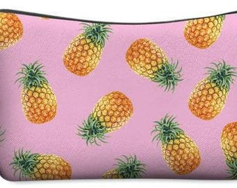 Pink with Pineapples Small Makeup Bag