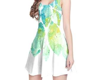 Mint Dress, Mint Green, Yellow, Aqua Dress, Womens Print Dress, Fitted Dress, Fit and Flare Dress, Summer Dress Colorful Sleeveless Dress xs