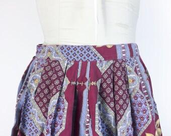 Vintage Skirt Flower Skirt Pleated Skirt Blue Red Floral Skirt 1950s Skirt Patchwork Skirt Swing Skirt Cotton Long Skirt Rockabilly