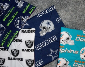 NFL Pot Holders, NFL Trivets, Quilted Hot Pads, NFL Kitchen Decor, Football Hot Pad, National Football League Hot Pads, Quilted Trivets, Hot