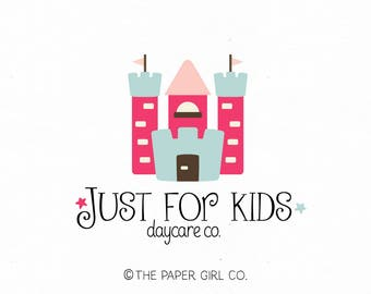 castle logo design daycare logo preschool logo kindergarten logo learning centre logo childcare logo premade logo party logo kids logo