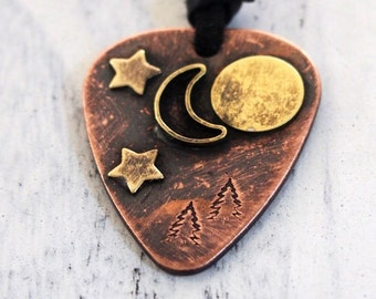 Mens personalized Guitar pick necklace, rustic guitar pick, moom, stars, sun, trees, outdoors, boyfriend, husband, lover gift, mens necklace