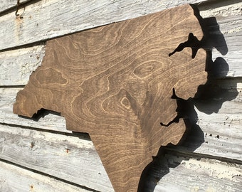 Large North Carolina Wood Cutout 3FT WIDE NC wall decor art carving state sign