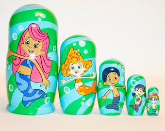 Bubble Guppies nesting doll for kids signed matryoshka russian dolls wood toy