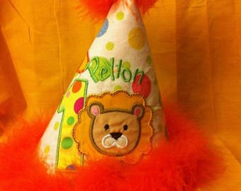 1st Birthday Lion Party Hat African Lion Safari