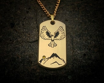 Men's Jewellers Brass and Swarovski Crystal Falcon Dog Tag