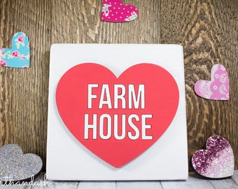 "Laser Cut Conversation Heart ""Farm House"""