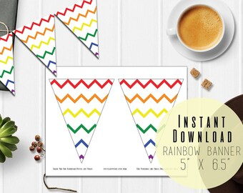 """5"""" x 6.5"""" Rainbow Chevron Banner Printable - Party Decoration - Birthday Baby Shower Bunting Garland - Instant Download - Party Printables"""
