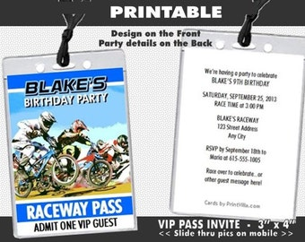 BMX Racing Blue VIP Pass Party Invitation, Printable, Invites for BMX Bike Racer, Boy Birthday