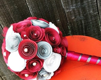 Paper Flowers Wedding Bouquet- Wedding Bouquet- Flowers with pearls- Burgundy Wedding Bouquet