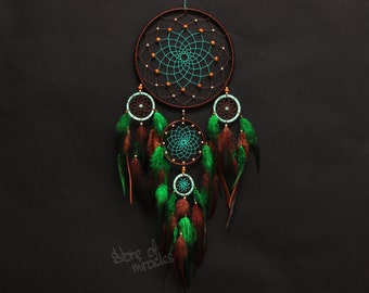 Dream catcher Dreamcatcher American mascots Indian talisman Protective amulet Turquoise color Green color