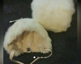 Vintage Fur Bonnet and Hand Warmer