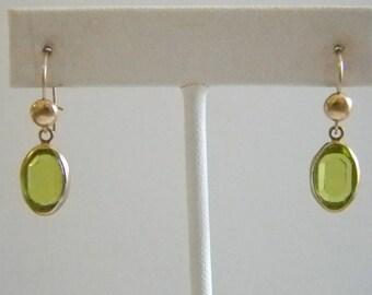 Green Crystal Oval Dangle Pierced Earrings