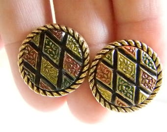 Sarah Coventry Round Gold Tone Multi Color Cuff Links