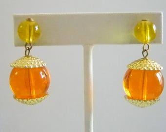 Orange/Yellow Beaded Dangle Pierced Earrings