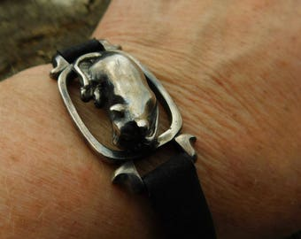 James Yesberger sleeping cat bracelet.  Rare and wonderful solid sterling cat on leather bracelet.  Cast and solid, signed.